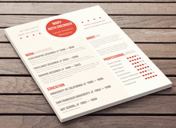 clean resume design au courant style